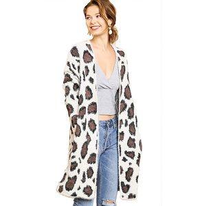 UMGEE Leopard Faux Fur Eyelash Cardigan Oversized